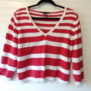 BOSTON PROPER | Red Striped V-Neck Sweater Size M